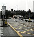 SS9080 : Pedestrian Zone sign alongside the A4061, Bridgend by Jaggery