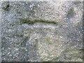 NO5705 : Faded benchmark on Kilrenny railway bridge by Becky Williamson