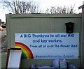 ST4287 : Flower Shed Thankyou banner, Undy, Monmouthshire by Jaggery