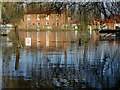 SO8540 : Houses reflected in floodwater by Philip Halling