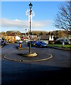ST4287 : Lamppost on a mini-roundabout, Magor, Monmouthshire by Jaggery