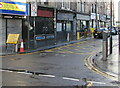 ST3188 : Yellow temporary sign, Upper Dock Street, Newport by Jaggery