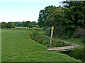 SP3394 : Pasture, ditch and footpath near Hartshill, Warwickshire by Roger  Kidd