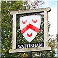 TM0051 : Wattisham village sign by Adrian S Pye