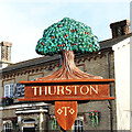 TL9165 : Thurston village sign - detail by Adrian S Pye