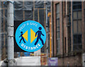 J3474 : Social distancing sign, Belfast by Rossographer