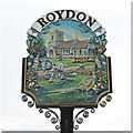 TF6923 : Roydon village sign (detail - north face) by Adrian S Pye