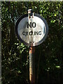 ST8059 : An old 'No Cycling' sign in Avoncliff by Neil Owen
