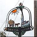 TF7319 : Gayton village sign detail 2 by Adrian S Pye