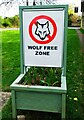 SP5318 : Wolf Free Zone sign, Weston-on-the-Green, Oxon by P L Chadwick
