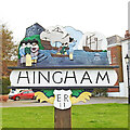 TG0202 : Hingham town sign by Adrian S Pye