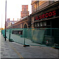 ST3188 : Temporary fencing, Market Street, Newport city centre by Jaggery