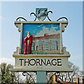 TG0536 : Thornage village sign by Adrian S Pye