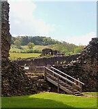 SO4520 : Skenfrith Castle - Modern entrance steps by Rob Farrow