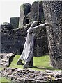 ST1587 : Caerphilly Castle - Statue with a mission by Rob Farrow