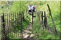 SO1506 : Walkers on footpath, Troedrhiwgwair by M J Roscoe