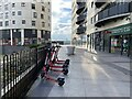 SP0787 : Electric scooters for hire, Masshouse Plaza, Birmingham by Robin Stott