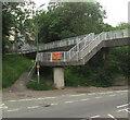 ST3089 : B&C Cars banner on a Malpas Road footbridge, Crindau, Newport by Jaggery