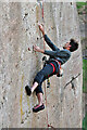 NU0150 : Rock climbing at Pier Quarry by Walter Baxter