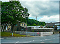SE1422 : New flood defence wall, Wakefield Road, Brighouse by Humphrey Bolton
