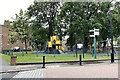 TQ3371 : Fenced playspace at the junction of Bowen Drive and Seeley Drive, Kingswood Estate by Robin Stott