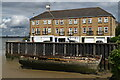 TQ5875 : Riverside housing and decaying boat, Greenhithe by David Martin