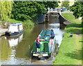 SJ5559 : Narrowboat approaching Beeston Iron Lock by Mat Fascione