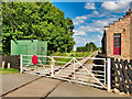 SE2389 : Wensleydale Railway, Level Crossing At Crakehall Station by David Dixon