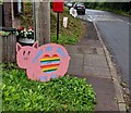 SO4200 : Pink pig depiction alongside the B4235, Llangwm, Monmouthshire by Jaggery