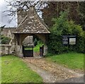 SO8000 : Lychgate at the entrance to St Bartholomew's churchyard, Nympsfield, Gloucestershire by Jaggery
