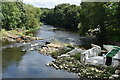SE2336 : Collapsed weir on the River Aire at Newlay by David Martin