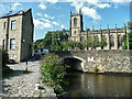 SE0623 : Tuel Lane canal tunnel and the parish church, Sowerby Bridge by Humphrey Bolton
