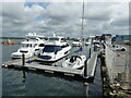 SZ0090 : Moored boats seen from Twin Sails Bridge, Poole by Chris Allen