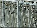 SK5737 : Wilford Suspension Bridge – love locks by Alan Murray-Rust