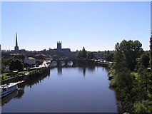 SO8455 : Worcester Cathedral and river Severn by Richard  Dunn