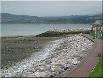 SH8480 : Sea wall at Rhos Point, Rhos on Sea by Lizzie