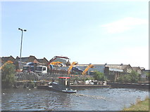 TQ2282 : Grand Union Canal at Old Oak Common - waste transfer by David Hawgood