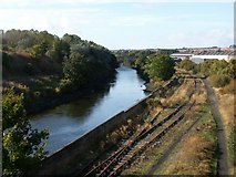 NO3700 : River Leven and railway line by Jim Bain
