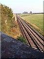NY1744 : The Cumbrian Coast Line as it runs across the Soilway Plain east of Aspatria by Nigel Monckton