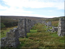 NY9700 : Stone Pillars near to Old Gang Smelting Mills by John Winterbottom