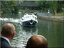 TL3514 : boat on the River Lea arriving at the Priory with the bride for a wedding by Peter Byford