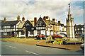 SJ7560 : Half-timbered Houses and War Memorial, Sandbach. by Colin Smith