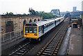 NZ3957 : Train approaching the Wearmouth Rail Bridge, 1994. by Martin Routledge