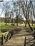 SE2536 : Bridge in Kirkstall Abbey grounds by Rich Tea
