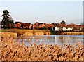 SP8741 : Willen Village and Lake by Richard Thomas