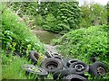NZ3053 : Old car wheels dumped by the River Wear by Brian Abbott