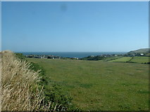 SH1728 : Farmland, looking over Aberdaron by David Medcalf