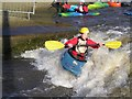NZ4619 : A kayaker playing at the Tees Barrage by Iain Robinson