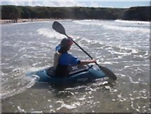 SH3370 : A kayaker paddling out through the surf by Iain Robinson