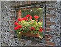 SU6116 : Window in garden wall, School Hill, Soberton by Peter Facey